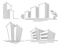 Croquis des constructions illustration libre de droits