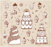 Croquis des gâteaux et des petits gâteaux i Image libre de droits