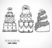 Croquis des gâteaux et des petits gâteaux sur le blanc Images libres de droits