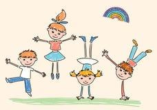 Croquis des joyeux enfants sautants Images stock