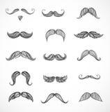 Croquis des moustaches sur le blanc Images stock
