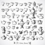 Croquis des objets de thé Image libre de droits