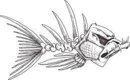 Croquis des poissons squelettiques mauvais avec les dents pointues Photos stock