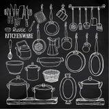 Croquis des pots, casseroles sur le tableau noir dans le style campagnard Photographie stock