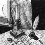 Croquis dessiné par contour à main levée d'encre Toujours durée romantique illustration libre de droits