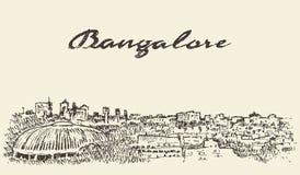 Croquis dessiné par illustration d'Inde d'horizon de Bangalore illustration stock