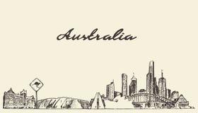 Croquis dessiné par illustration de vecteur d'horizon d'Australie illustration libre de droits