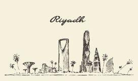 Croquis dessiné par illustration de vecteur d'horizon de Riyadh illustration libre de droits