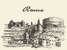 Croquis dessiné par illustration de vecteur de Rome Italie de rue Photos stock