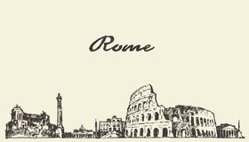 Croquis dessiné par illustration de vintage d'horizon de Rome illustration de vecteur