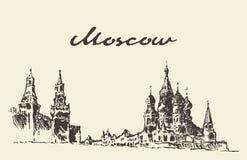 Croquis dessiné par Kremlin rouge de place de Moscou Russie illustration de vecteur