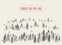 Croquis dessiné par vecteur brumeux de montagne de forêt de pin de brouillard illustration libre de droits