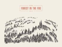 Croquis dessiné par vecteur brumeux de montagne de forêt de pin de brouillard illustration de vecteur
