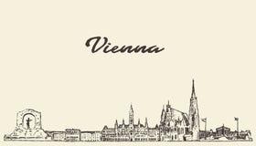 Croquis dessiné par vecteur de l'Autriche d'horizon de Vienne illustration de vecteur