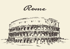 Croquis dessiné par vecteur de Rome Colosseum de rues Images stock
