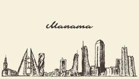 Croquis dessiné par vecteur du Bahrain d'horizon de Manama Photos stock
