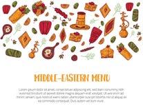 Croquis du Moyen-Orient de bannière de menu de croquis moderne avec le chiche-kebab, Dolma, Shakshuka, shisha Griffonnages à main illustration de vecteur