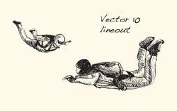 Croquis du parachutisme sur l'air, vect d'illustration d'aspiration de carte blanche Photo libre de droits