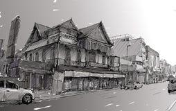 Croquis du paysage urbain dans bâtiment d'exposition de la Thaïlande le vieux sur la rue Asie Photographie stock libre de droits