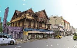 Croquis du paysage urbain dans bâtiment d'exposition de la Thaïlande le vieux sur la rue Asie Images libres de droits