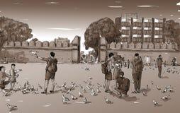 Croquis du paysage urbain dans la porte de Tha Phae de point de repère d'exposition de la Thaïlande dans n Image stock