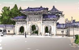 Croquis du paysage urbain dans la porte de vieux temple d'exposition de Taïwan Taïpeh illustration stock