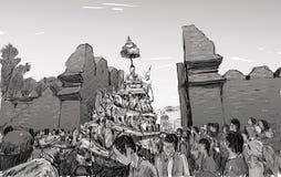 Croquis du paysage urbain dans le défilé traditionnel d'exposition de la Thaïlande Photographie stock libre de droits