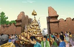 Croquis du paysage urbain dans le défilé traditionnel d'exposition de la Thaïlande Images libres de droits