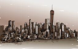 Croquis du paysage urbain dans le Midtown de Manhattan d'exposition de New York avec des skys Images libres de droits