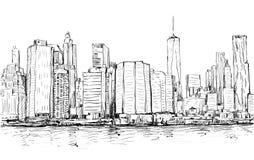 Croquis du paysage urbain dans le Midtown de Manhattan d'exposition de New York avec des skys Photos stock