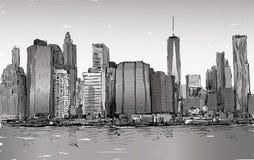 Croquis du paysage urbain dans le Midtown de Manhattan d'exposition de New York avec des skys Photo libre de droits