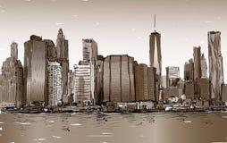 Croquis du paysage urbain dans le Midtown de Manhattan d'exposition de New York avec des skys Photo stock