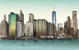 Croquis du paysage urbain dans le Midtown de Manhattan d'exposition de New York avec des skys Photos libres de droits
