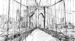 Croquis du paysage urbain dans le pont de Brooklyn d'exposition de New York et le buildin Photos libres de droits