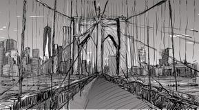 Croquis du paysage urbain dans le pont et le bâtiment de Brooklyn d'exposition de New York Image stock