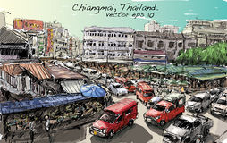 Croquis du trafic de style de l'Asie d'exposition de paysage urbain sur la rue et le buildin Image stock