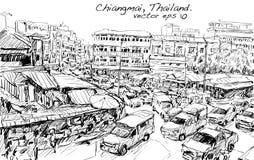 Croquis du trafic de style de l'Asie d'exposition de paysage urbain sur la rue et le buildin Photographie stock