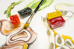 Croquis et cubes d'aquarelle Images stock
