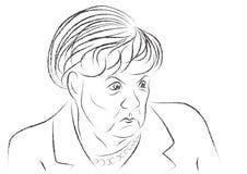 Croquis fâché d'Angela Merkel Photographie stock