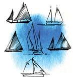 Croquis fabriqué à la main de la plaisance et de la mer Image libre de droits