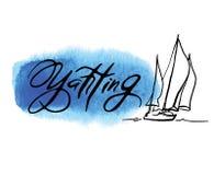 Croquis fabriqué à la main de la plaisance et de la mer Photos libres de droits