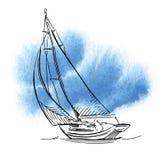 Croquis fabriqué à la main de la plaisance et de la mer Image stock