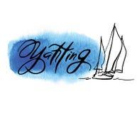 Croquis fabriqué à la main de la plaisance et de la mer Photographie stock libre de droits