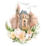 Croquis fabriqué à la main de vieille ville avec des fleurs Illustration d'aquarelle illustration de vecteur