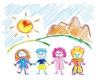 Croquis fabriqué à la main des enfants heureux Photos libres de droits