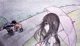 Croquis fait main d'une fille observant un enfant protéger un chiot sous la pluie image stock