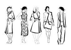 croquis filles de mode sur un fond blanc illustration stock