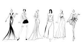 croquis filles de mode sur un fond blanc illustration de vecteur