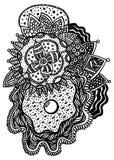 Croquis floral de zentangle avec la perle dans la coquille illustration libre de droits