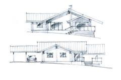 Plan d architecture de retrait de main de traite avec le for Croquis d une maison